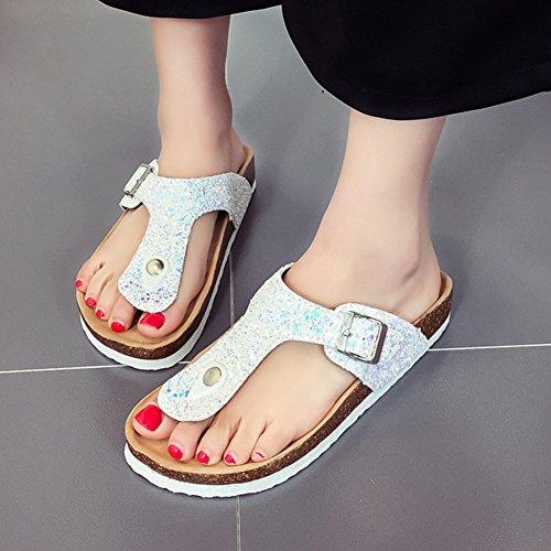 Femme Sandales Chaussures ZongSen Tongs Sandales Chaussures Paillettes Blanc Unisexes Para 4WwqqYvR6n