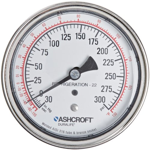 ASHCROFT Duralife Type 1009 Stainless Steel Case Dry Filled Pressure Gauge, Stainless Steel Tube and Bronze Socket, R-22 Refrigerant, U-Clamp Mounting, 3.5' Dial Size, 1/4' NPT Lower Back Connection, 30' Hg Vac/0/300 psi Pressure Range