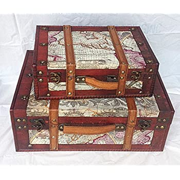 Amazon set of 2 old world map wooden suitcase trunk box home 2st replica vintage style world map decorative wooden suitcase hf 004 gumiabroncs Image collections