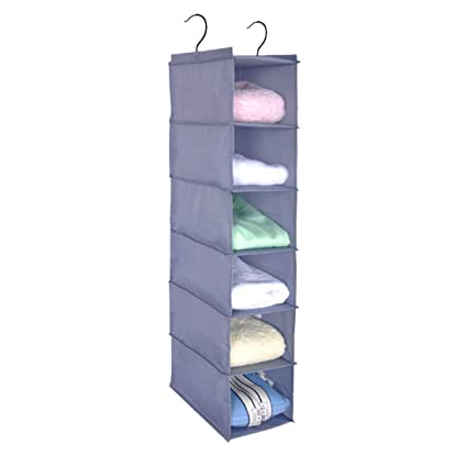 c50f339c2b87 Aggice Hanging Closet Organzier, 6 Shelf Gray Oxford Fabric Washable  Storage Organizer for Clothing,Sweters,Bags,Shoes,Accessories (Gray)
