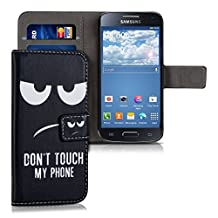 kwmobile Chic synthetic leather case for the Samsung Galaxy S4 Mini with convenient stand function - Design Don't touch my phone in white black