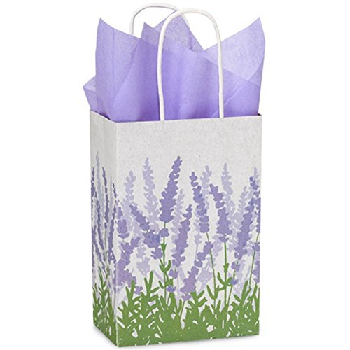 Lavender Fields Paper Shopping Bags - Rose Size - 5 1/2 x 3 1/4 x 8 3/8in. - Pack of 250 by NW