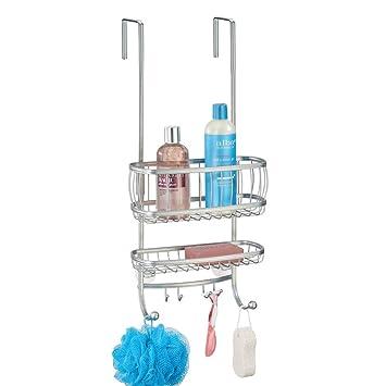 mDesign rangement de douche suspendu à la porte de la douche – étagère de  douche pratique – avec ventouses et 4 crochets – accessoire de rangement ...