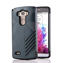 MOONCASE LG G3 Case Hybrid Armor Tough Rugged [Anti Scratch] Dual Layer TPU +PC Frame Protective Case Cover for LG G3 Navy