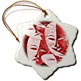 3dRose RinaPiro Patterns - Masks. Abstract. Burgundy. - 3 inch Snowflake Porcelain Ornament (orn_268741_1)