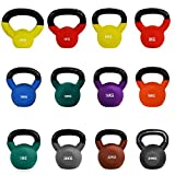 JLL Kettlebells with Coloured Neoprene (Rubber) Covered Cast Iron Ranging From 2kg to 24kg Home Gym...
