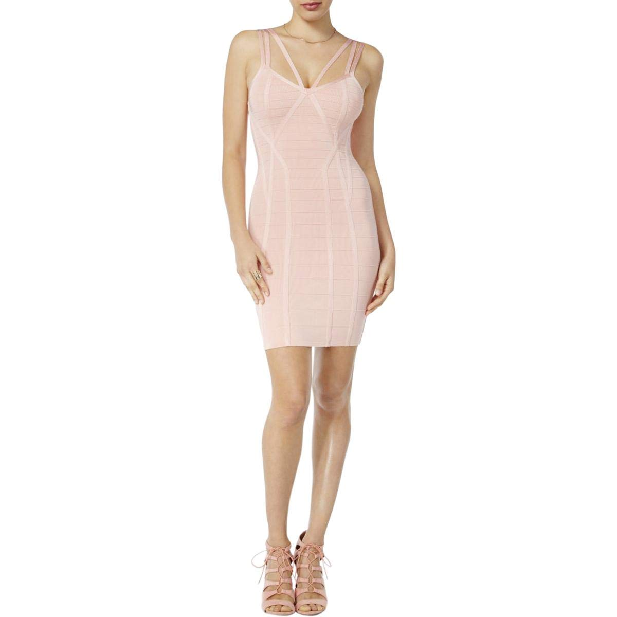 GUESS Womens Mini Strappy Bodycon Dress Pink XL at Amazon Women s Clothing  store  86971cc25034d