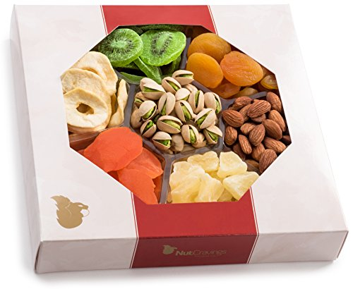arge Dried Fruit and Nut Gift Basket - Father's Day Gift Box w/7 Different Dried Fruits & Nuts - Perfect Mothers & Fathers Day Healthy Gift Baskets Or For Any Occasion ()