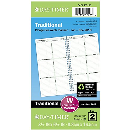 "Day-Timer Refill 2018, Two Page Per Week, January 2018 - Decemer 2018, 3-1/2"" x 6-1/2"", Wirebound, Pocket Size (87030-1801)"