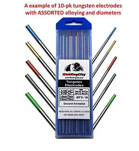 """WeldingCity TIG Welding Tungsten Electrodes ASSORTED Alloying Green-Red-Gray-Gold-Blue and Sizes 1/16""""-3/32"""""""