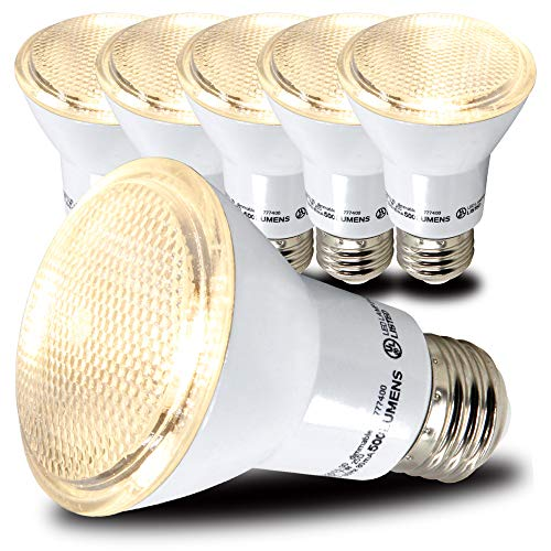 AmeriLuck PAR20 LED Light Bulbs, Dimmable Spot Light 40˚ Beam Angle, 500+ Lumens, 7W, 50W Equivalent, CRI 80+, UL Listed, Glass Filter, Wet Rated (3000K|Warm White, 6 Pack)