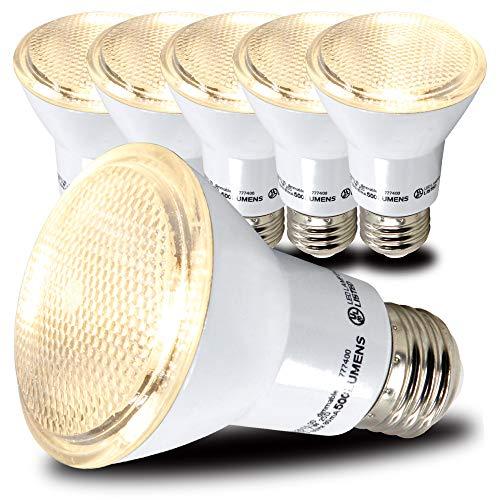 AmeriLuck PAR20 LED Bulbs, Dimmable Spot Light, 500+ Lumens, 50W Equivalent (7W), CRI 80+, UL Listed, Glass Filter (3000K Warm White, 6 Pack)