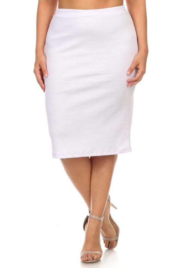 Private Label Women's Plus Solid Midi Length Pencil Skirt. Made In USA (2X, White)