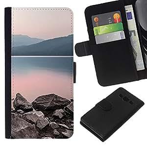 Planetar® Modelo colorido cuero carpeta tirón caso cubierta piel Holster Funda protección Para Samsung Galaxy A3 / SM-A300 ( Nature Calm Lake )