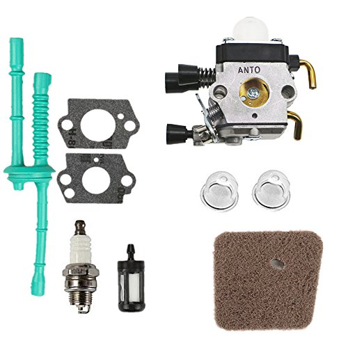 ANTO FS38 FS45 Carburetor with Air Filter Fuel Line Filter Spark Plug Tune-up Kit for for STIHL FS46 FS55 KM55 HL45 FS45L FS45C FS46C FS55C FS55R FS55RC Zama C1Q-S66 C1Q-S18 String Trimmer Weedeater