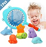 : Lehoo Castle Bath Toys for 1 Year Old, 7pcs Squirt Toys for Bathtub, Bathtub toys for 3 Year Old,  Bath Toys with Fishing Net for Toddlers, Learning  Education Toys for Toddler