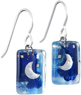 product image for Blue Midnight Moon American Made Glass Canvas Earrings