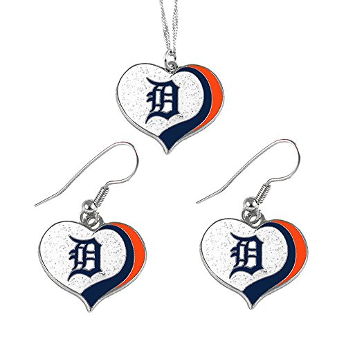 - aminco Detroit Tigers MLB Sports Team Logo Charm Gift Glitter Heart Necklace and Earring Set