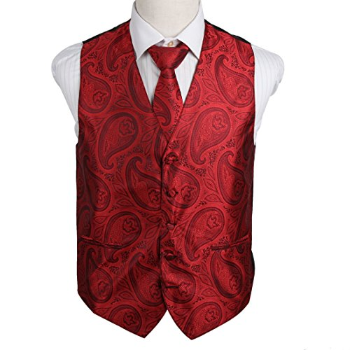 - EGD2B04B-XL Red Patterns Microfiber Beautiful Waistcoat Neck Tie Set Leadership For Marriage By Epoint