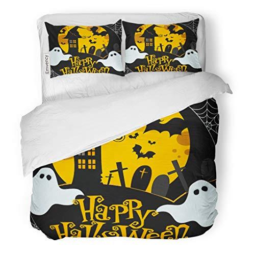 Tarolo Bedding Duvet Cover Set Ghost Cute Halloween Cobweb House Cartoon Flying Autumn 3 Piece Twin 68