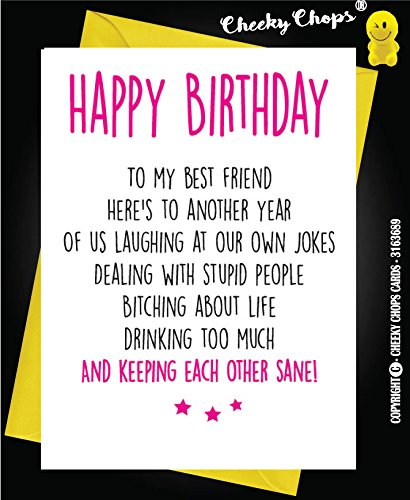 Funny Best Friend Birthday Cardbestiehumourfunsarcasm C21