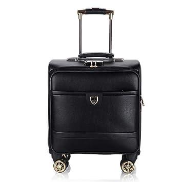 Maletín con ruedas de cuero de 18 pulgadas con compartimiento para computadora portátil,maletas para