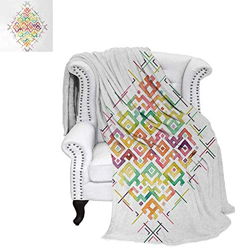 - Custom Design Cozy Flannel Blanket Watercolors Ethnic Tribal Pattern Zigzag Asian Roots International Heritage Motif Image Weave Pattern Blanket 60