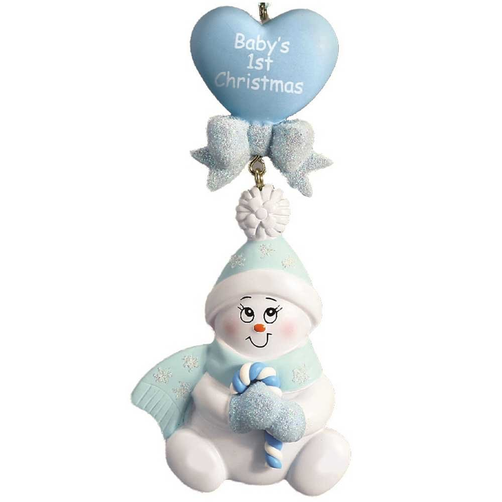 Personalized Candy-Cane Baby's 1st Christmas Ornament for Tree 2018 - Cute Snowman in Blue Glitter Hat Mittens Heart - Boy's New Mom Shower Grandson - Free Customization by Elves (Blue)
