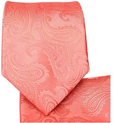 Men's Paisley Necktie Set (Coral) #600-ii ()