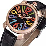 Unisex Big Colorfully Number White Dial Automatic Mechanical Watch Gold Stainless Steel Black Leather