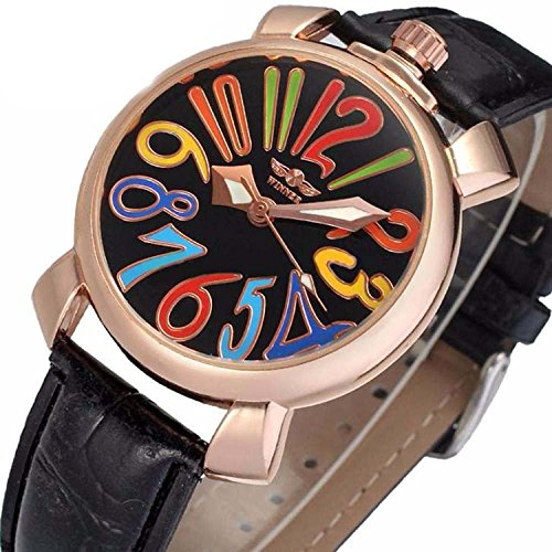 Unisex Big Colorfully Number White Dial Automatic Mechanical Watch Gold Stainless Steel Black Leather (Black) - Mens Automatic Self Winding Watch