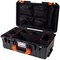 Black w/ Orange handles & latches Pelican Colors series 1535 Air case, w/ TrekPak Divider System & 1535 lid organizer.