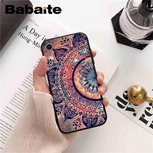 Pink Blue Mandala Print iPhone XR Case Colorful Medallion Floral Pattern iPhone XR Cover DIY Painted Geometric Flower iPhone XR Back Case For Girls Fashion Stylish Shockoproof Slim Soft TPU -