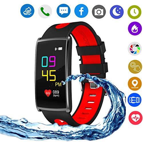 Hangang Smart Watch,Blue Tooth Touch Screen IP67 Life Waterproof Function/Sports Fitness Tracker for IOS and Android Phones. (red) by Hangang