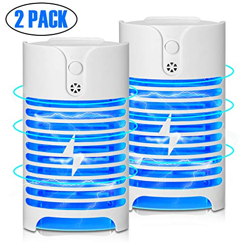 W-WAPIKE Bug Zapper, 2 Pack Plug-in Electric Mosquito Zapper Indoor Portable High-Voltage Grids Lamp, No Toxic, Odorless, Noiseless Perfect for Home/Offices/Porches/Warehouses