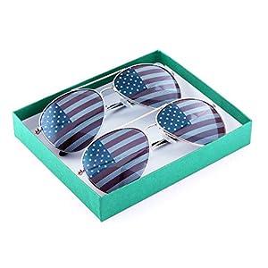 MJ Eyewear American Flag Aviator Sunglasses Glasses (2 Pairs 1 Silver 1 Gold, USA FLAG)
