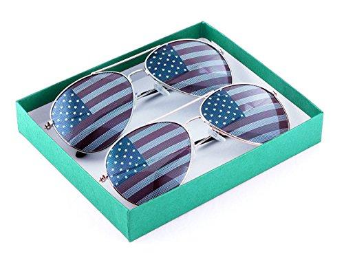 American Eyewear - MJ Eyewear American Flag Aviator Sunglasses Glasses (2 Pairs 1 Silver 1 Gold, USA FLAG)
