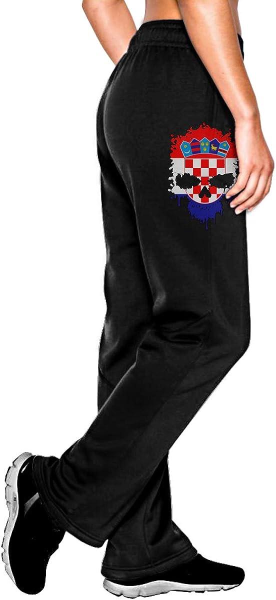 Vhlk07@P Womens Croatia Skull Jogger Sweatpants Elastic Waist Jersey Pants with Pockets