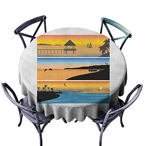 G Idle Sky Beach Fitted Tablecloth Tropic Island Pattern with Horizontal Banner Style Composition Dolphins Birds Boats Great for Buffet Table D43 Multicolor
