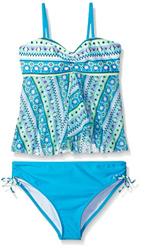 Angel Beach Big Girls' Swim Aztec Parade Tankini Set, Multi, 12
