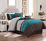 teal and brown bedding  7 Piece Marcia Patchwork Bed in a Bag Comforter Set Burgundy (Teal/Grey, Queen)