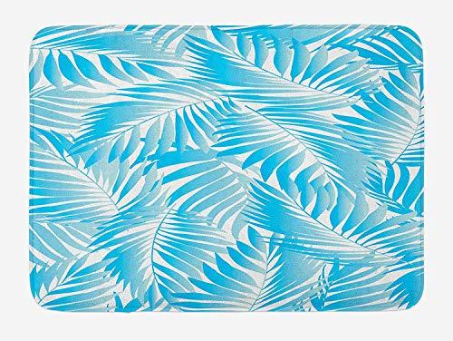 Weeosazg Leaf Bath Mat, Miami Tropical Aquatic Palm Leaves with Exotic Colors Modern Summer Beach, Plush Bathroom Decor Mat with Non Slip Backing, 23.6 W X 15.7W Inches, Turquoise Aqua -