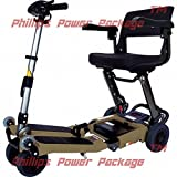 Free Rider USA - Luggie Standard - Compact Lightweight Foldable Scooter, 4-Wheel, Champagne - PHILLIPS POWER PACKAGE TM - TO $500 VALUE