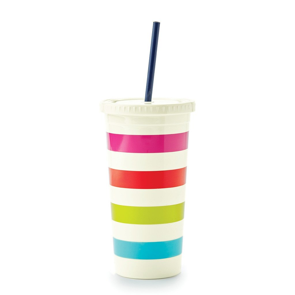 Kate Spade New York Insulated Plastic Tumbler with Reusable Silicone Straw, 20 Ounces, Candy Stripe