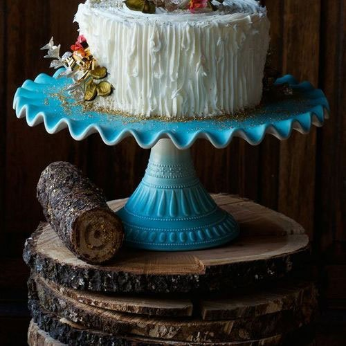 Cake & Dessert Stand, 14 in. Diameter, Ruffled, Ceramic, Mint Blue