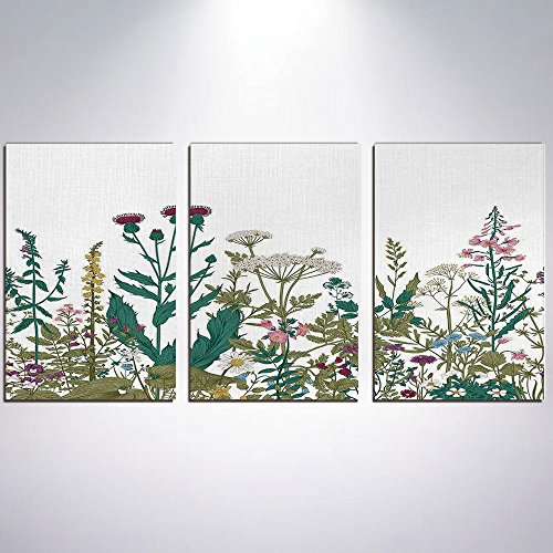 3 Panel Canvas Prints Wall Art for Home Decoration Flower Decor Print On Canvas Giclee Artwork For Wall DecorFlowers Leaves in a Spring Garden with Daisies Roses Hydrangeas Art Print-