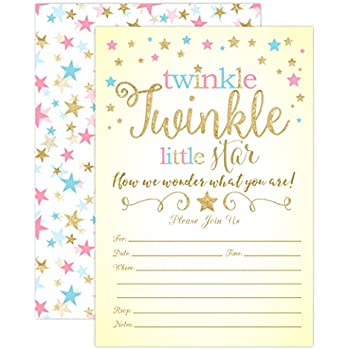 Amazoncom Twinkle Twinkle Little Star Gender Reveal Invitations