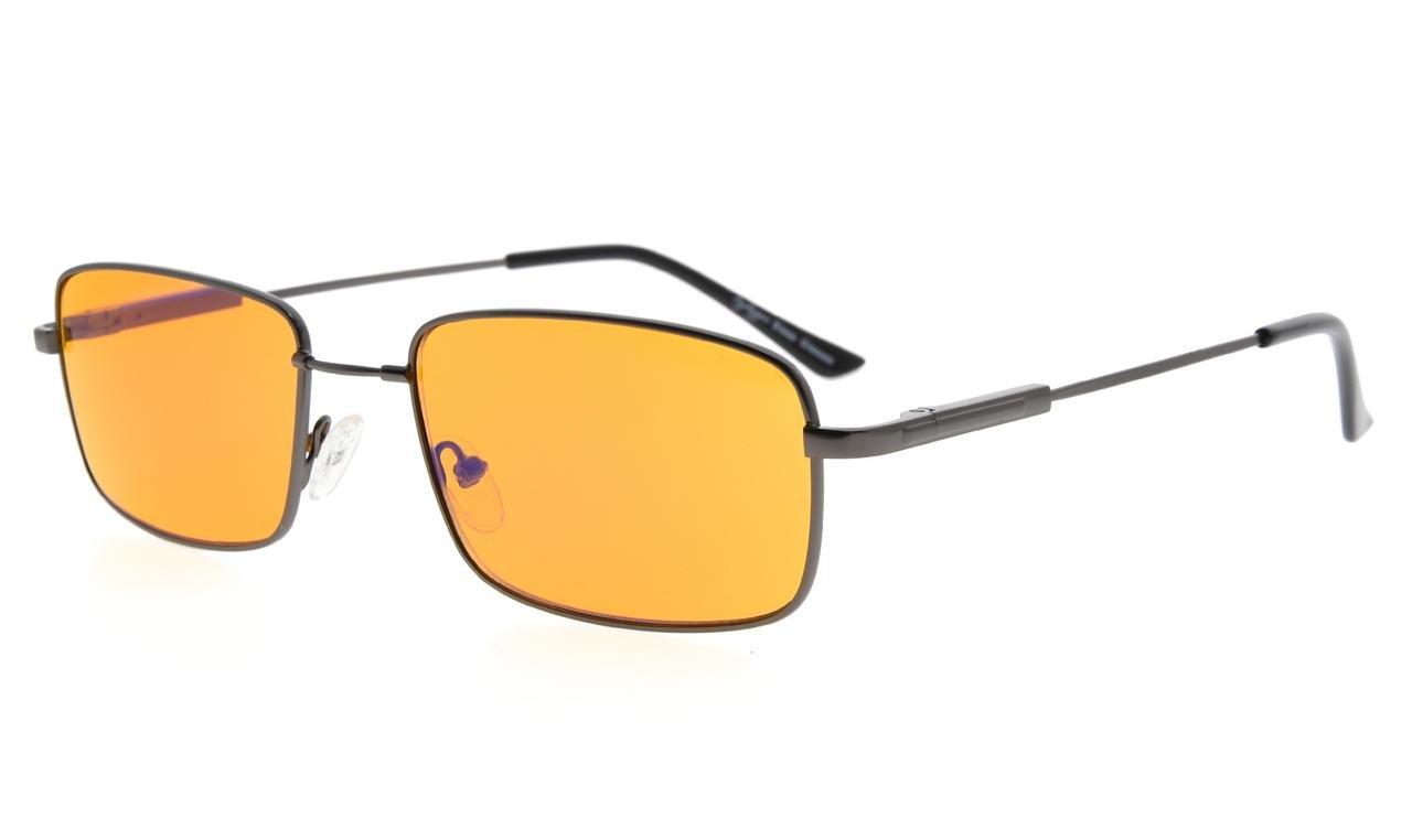 Eyekepper Mens Anti Blue Light Glasses Better Sleep 97% Blue Light Blocking-Bendable Memory Titanium Computer Eyeglasses, Dark Orange Tinted Lens(Gunmetal, 0.00)