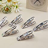 SDBING Metal Clothespins Hanging Clothes Flat Clips Pins 20 Pcs Silver Tone