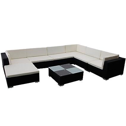 088ca1fd5b8d vidaXL Outdoor Lounge Set 24 Pieces Black Poly Rattan Garden Patio Sofa Seat:  Amazon.co.uk: DIY & Tools